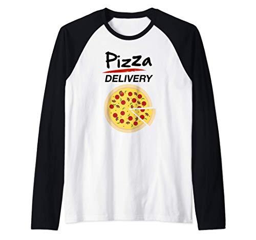 Disfraz de Repartidor Pizzas para Grupos Hombre Mujer Niños Camiseta Manga Raglan