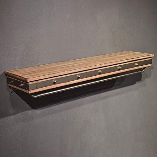 SH Ropa de Segunda Mano de Madera estantes de exhibición, Escudo de Servicio Pesado Perchero Barra Colgante, montado en la Pared de estantería con 120 cm de Longitud del Carril de Hierro (47inch)
