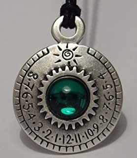 Retroworks Crystal Sundial Necklace - Ra Series - Aten (Green)