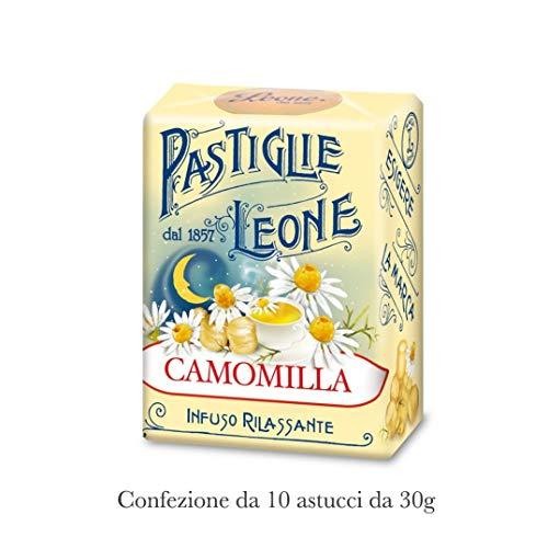 Pastiglie Leone CAMOMILLA | Le mitiche Pastiglie Senza Coloranti Artificiali e Senza Glutine | Prodotto Vegano | Confezione da 10 Astucci tascabili da 30g