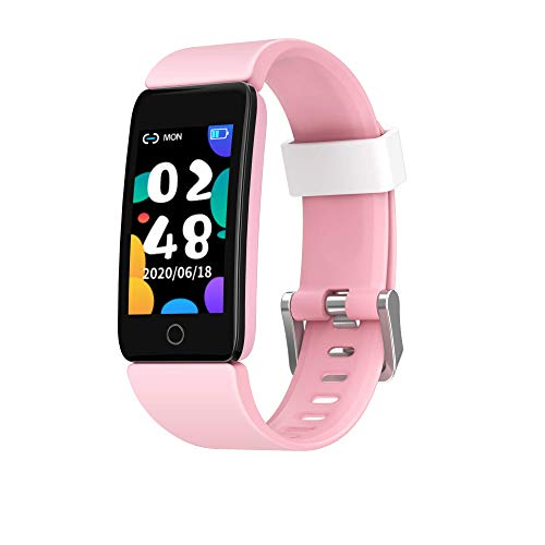 Kids Bracelet Watch Waterproof Activity Tracker with Heart Rate Blood Pressure and Sleep Monitor Call Reminder Watches for Boys and Girls (Blue)… (pink)