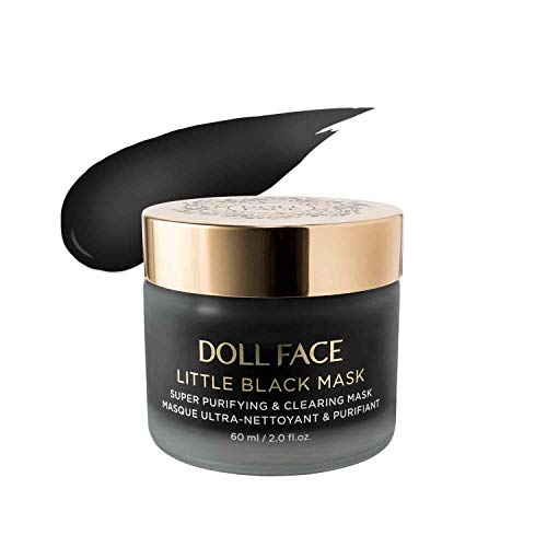 DOLL FACE Charcoal Face Mask with Kaolin Clay | Facial Detox & Cleanse | Pore Minimizer | Natural Anti-aging & Active Skincare Treatment | 2.0fl oz