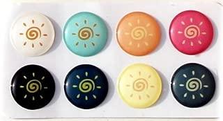 Cute Cartoon Sun Bright Idea Light Shine 3D Semi-circular 8 Pieces Bubble Home Button Stickers for iPhone 5 4/4s 3GS 3G, iPad 2, iPad Mini, iTouch