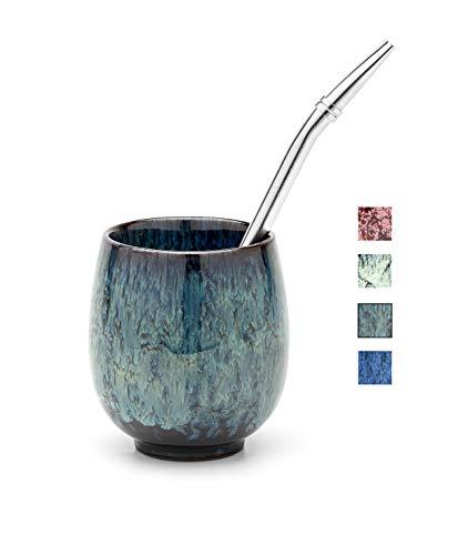 BALIBETOV Yerba Mate Set - Keramik Mate Becher - Bombilla (Stroh) und Reinigungsbürste inklusive - Moderner Yerba Mate Kürbis. (Frühling)
