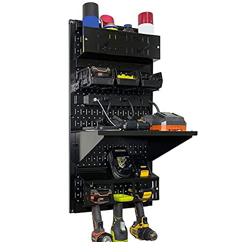 "Wall Control Power Tool Storage Organizer Kit Cordless Drill Holder Charging Station Rack 16"" x 32"" Metal Pegboard Organization System (Black Pegboard)"