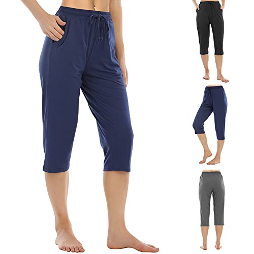 JOYOUS LUCKY Yoga Pants for Women Capris High Waist with Pockets Wide Leg Exercise Workout Straight Open Bottom Blue