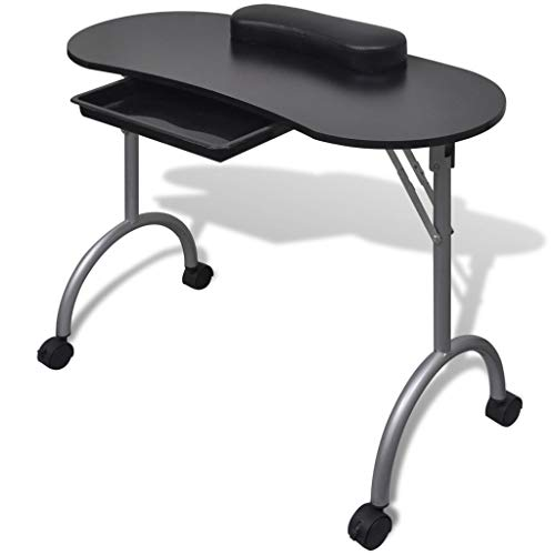Mesa de Manicura Plegable con 4 Ruedas Bloqueables para Uso Profesional o Personal 90 x 37 x 68 cm Negro
