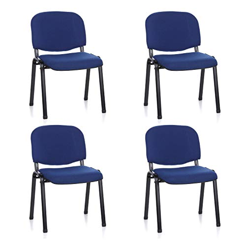 hjh OFFICE 704510 silla de confidente XT 600 lote de 4 tejido negro/azul, apilable, acero estable, 4 sillas