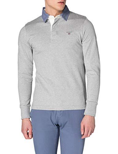 GANT Herren ORIGINAL Heavy Rugger Polohemd, Grey Melange, XS
