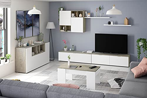 Laska 2 - Conjunto de mueble para TV, diseño de roble Alaska y blanco