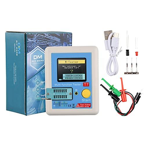 LCR-T7 Transistor-Tester, multifunktionaler TFT Transistor-Tester mit One-Key-Bedienung, grafisches Display, automatische Abschaltung für Dioden-Trioden-Kondensatorwiderstand, Transistor