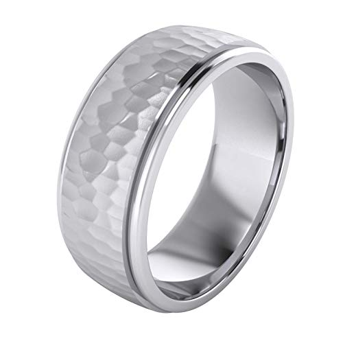 Heavy Solid Sterling Silver 8mm Hammered Unisex Wedding Band Comfort Fit Ring Raised Center Polished Sides (7)