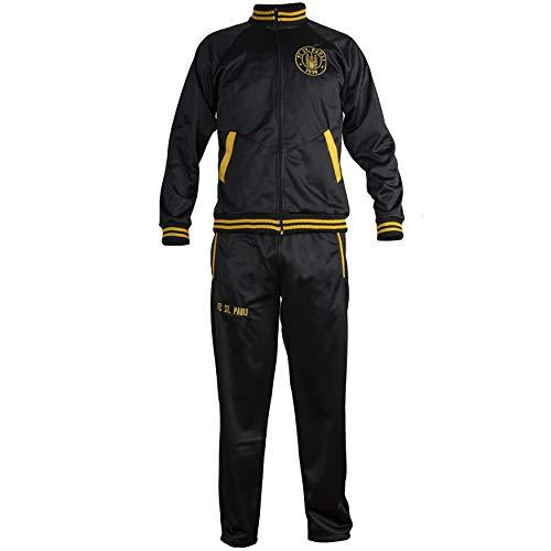 JL Sport St. Pauli Chaqueta Negra Chándal Completo de fútbol Retro Chaqueta con Cremallera Hombres Top y Pantalones Deportivo