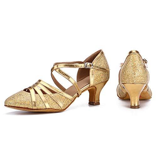 HROYL Damen Tanzschuhe/Latin Dance Schuhe Glattleder Ballsaal Modell-D5-512 Gold 39 EU - 6