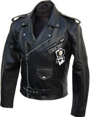 WinNet Giacca chiodo vintage da moto custom in pelle, Taglia: XL
