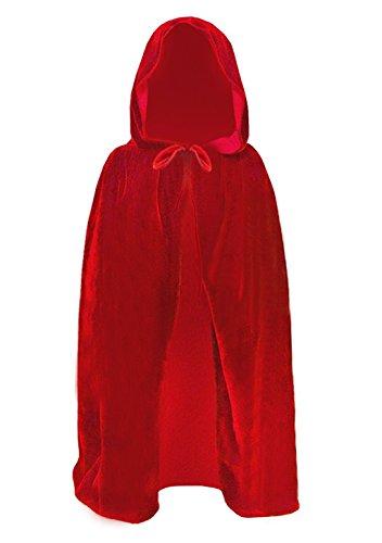 Moonlove Capa de Halloween con capucha para nios, 80 cm, disfraz de Diablo Vampiro Mago Diablo Chicos Nias Cosplay Disfraz Hroe de Cuento de Hadas, Albornoz para fiesta de Navidad, color rojo
