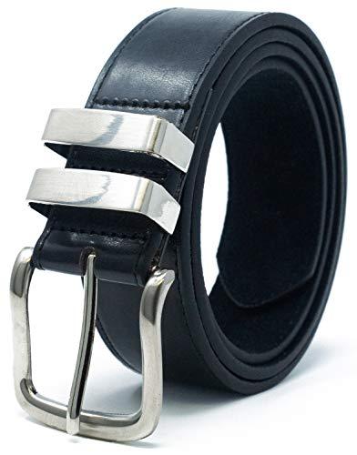 Ossi 38mm Jean double boucle ceinture pour homme - noir 122cm - 132cm taille