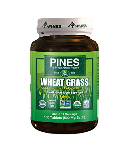 Pines Organic Wheat Grass 500 Mg Tablets, 100 Count
