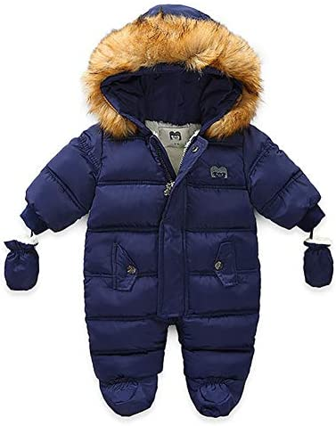 Toddler Place Newborn Baby One Piece Footed Fur Trim Winter Warm Down Jacket Coat Romper Outwear product image