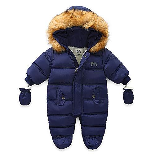 Bebé Mono Invierno para Recién Nacido Mameluco de Manga Larga y Capucha con Botines y Guantes Traje de Nieve con Relleno de Algodón Ropa de Una Pieza para Niños Niñas (Azul, 6-9 Meses)