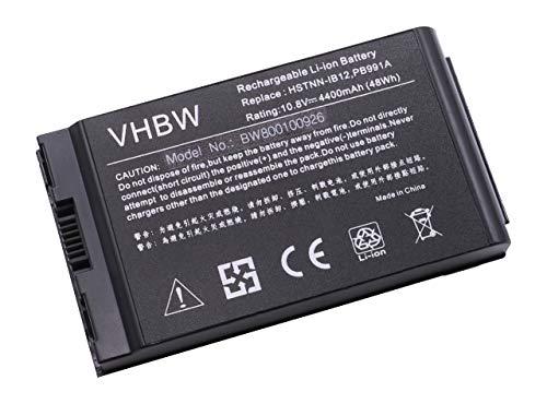 vhbw Batterie LI-ION 4400mAh 11.1V Noir Compatible pour HP remplace 381373-001, 383510-001, HSTNNIB12, PB991A