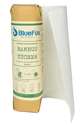BlueFox Küchenrolle aus Bambus, Haushaltsrolle, Küchentücher, Handtücher, saugstark, reißfest, umweltfreundlich, waschbare Papiertücher, wiederverwendbarer Putzlappen, waschbares Bambustuch
