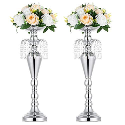 Nuptio 2 Stücke Vielseitig Metall Hochzeit Mittelstücke Vase & Säule Kerzenhalter für Hochzeit Abendessen Herzstück Ereignis für Empfangstische Hochzeit Liefert Dekoration, 52.5cm Höhe