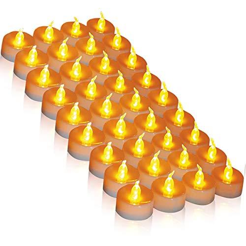 (DANIP) LED Kerzen, 36 LED Teelichter Kerzen flammenlos hell blinkend elektrische Gefälschte Kerze nach Hause Weihnachtsschmuck Hochzeitstisch Geschenk im Freien (warmes Gelb 1 × 36)