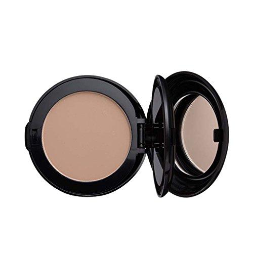 Sharplace 2 en 1 Poudre Pressée Compacte Correctrice Fond de Teint Cache Cernes du Visage Correcteur Highlighter Surligneur de Maquillage avec Miroir Cosmétique - Couleur naturelle