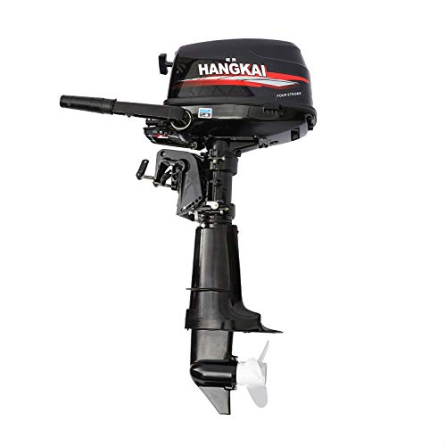 HANGKAI Outboard Motor, 4 Stroke 6.5HP Heavy Duty Outboard Motor Inflatable Fishing Boat Yacht Engine with Water Cooling System