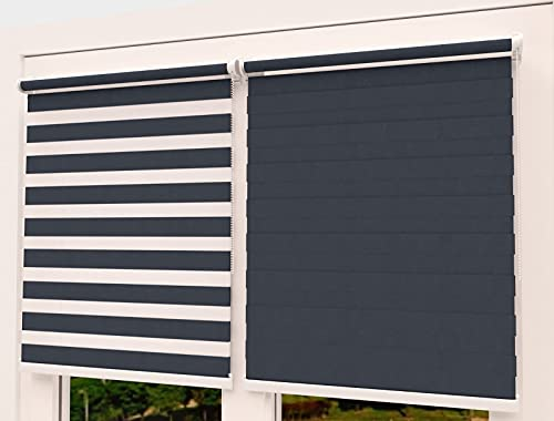 TROYAHOME®️ Doppelrollo Klemmfix Ohne Bohren Duo Rollo Fenster Rollo Easyfix (Anthrazit, 70 x 150 cm ( Stoffbreite 67 cm)