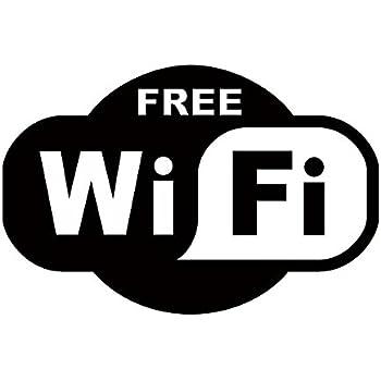 wifi Wi-Fi ワイファイ free フリー Wi-Fiスポット 表示 マーク ステッカー シール デカール 店舗アピールに (15cm×10cm, ブラック)