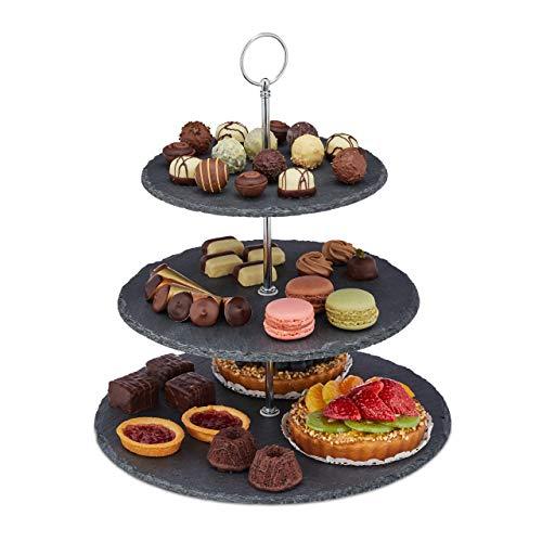 Relaxdays Etagere, 3 Etagen, Schiefer, Kuchen, Snacks, Obst, Metallgriff, Servierständer, HxD 34x30 cm, anthrazit/silber, 10030732