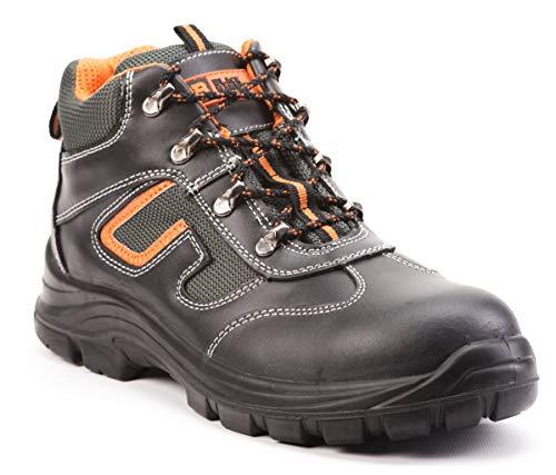 Botas de Seguridad de Cuero para Hombres Botas de Seguridad para hombresPuntera de Acero S3 SRC Calzado de Trabajo al Tobillo de Cuero 6652 Black Hammer (42 EU)