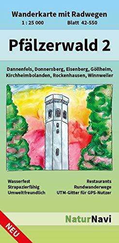 Pfälzerwald 2: Wanderkarte mit Radwegen, Blatt 42-550, 1 : 25 000, Dannenfels, Donnersberg, Eisenberg, Göllheim, Kirchheimbolanden, Rockenhausen, ... (NaturNavi Wanderkarte mit Radwegen 1:25 000)