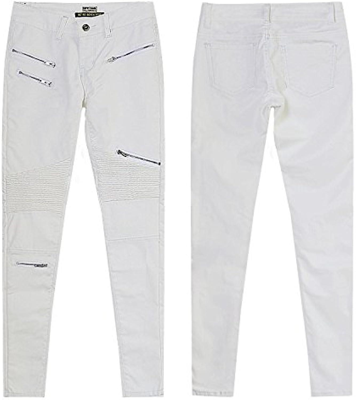 JCH Denim Pants, White Imitation Splicing MultiZipper Locomotive Models Large Size Leather Denim Pants for Women