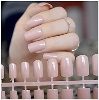 VIKSON INTERNATIONAL Gorgeous Nude set of 12 pcs Long French tip Artificial Art Design False Nails with nail glue