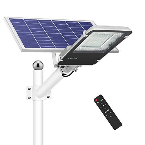 Farola Solar LED para Exterior, 154 LED 1500 lumens Lámpara de Seguridad Blanca Fría con Control Remoto, De anochecer a amanecer, temporización, 4 modos de brillo, IP65 Impermeable
