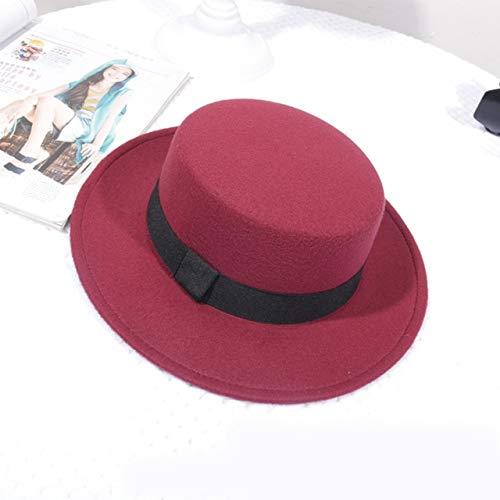 Sombrero clsico de Fieltro de Color slido para Mujer, Sombreros Femeninos de ala Ancha para Mujer, Gorra Plana de Jazz, Sombrero de Cubo, Invierno, Primavera, Verano-Style 1 Red