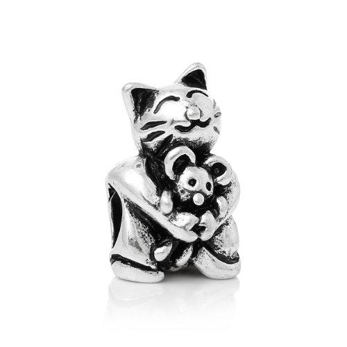 Sexy brilla de la mujer gato Abrazando ratón Charm Compatible con todos los Marca pulsera de cadena...