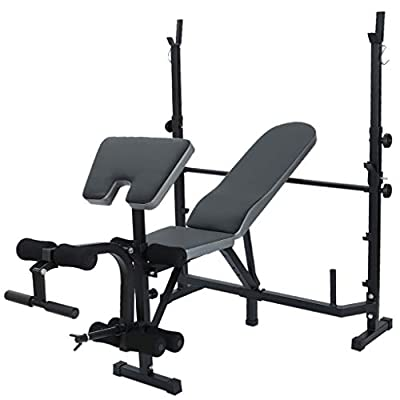 Adjustable Weight Bench with Dumbbell Rack, Multi-Functional Barbell Bench Sit-Up Board Bench Home Fitness Chair Sit-Up Board Bench Home Fitness Chair Abdominal Strength Training Equipment (Black)