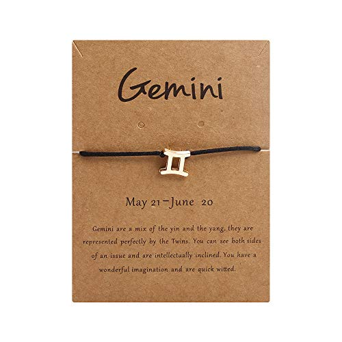 AGAGRG Pulseras de cuero trenzado, cuero negro trenzado, signo del zodiaco, oro Gemini 12 Constelación Cabujón Punk Mens Mujeres Brazaletes Vintage Joyería para hombres novio papá Deseo cumpleaños
