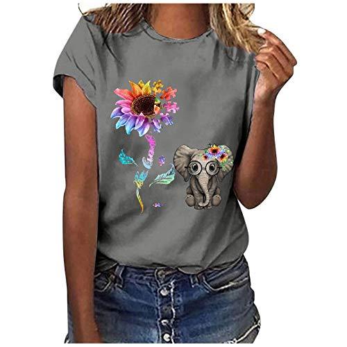 T-Shirt Damen mit O-Ausschnitt T-Shirt Bluse Tops Frauen Casual Letter Printing Kurzarm O-Neck Loose (XXL,2grau)
