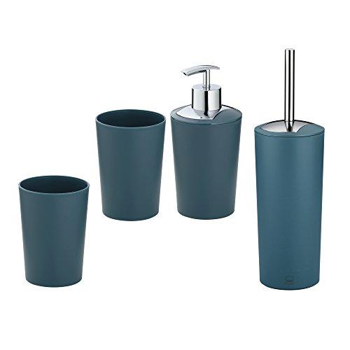 Kela Set de Salle de Bain Marta, 4 Pièces, 1 Distributeur à savon - 2 Gobelets - 1 Brosse WC, Plastique 390215, Bleu pétrole