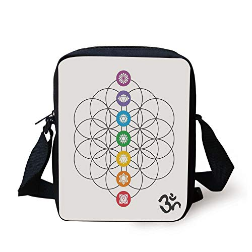 KLYDH Sacred Geometrty Decor,Chakra Points in Vintage Concentric Rings of Partial Circle Zen Image,Multi Print Kids Crossbody Messenger Bag Purse