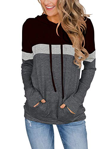 Womens Active Long Sleeve Fashion Hoodie Pullover with Plus Size Black X-Large