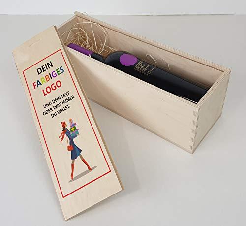 buongiusti Weinbox Weinkiste aus Holz 33x10x10cm - Personalisiert, Dein Logo, 4-farbig (1-Farbiger Druck)
