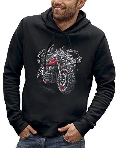 PIXEL EVOLUTION Sweat à Capuche Moto Racer Homme - Taille L - Noir