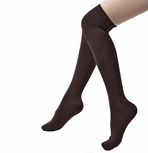 Butterme Damen Frauen Mädchen Overknee Strümpfe Baumwolle Strumpfhose Socken Farbe Schokolade