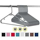 NEATERIZE Plastic Clothes Hangers | Heavy Duty Durable Coat and Clothes Hangers | Vibrant Colors Adult Hangers | Lightweight Space Saving Laundry Hangers | 20, 40, 60 Available (60 Pack - Grey)